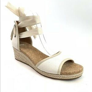 Ugg Amell cream ankle tie espadrille wedge